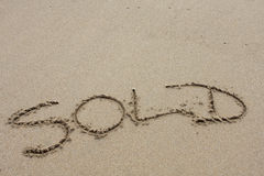 Beach Word. Words written in the sand on beach Royalty Free Stock Photography