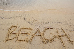Beach Word On Beach Sand II Royalty Free Stock Photos