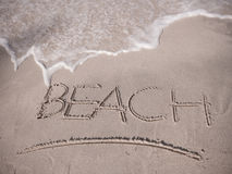 Beach. Word Beach on the sand royalty free stock images