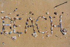 Beach. This word BEACH was created using seashells and arranging them on wet beach sand. There is text, seashells, wet beach sand and some seaweed in this photo royalty free stock images