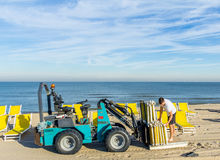 Beach worker with tractor Stock Photos