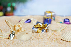 Beach wtih Christmas ornaments Stock Images
