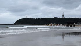 Beach and yellow sails Stock Photo
