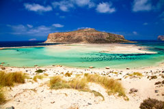 Beach with yellow sand at Balos lagoon Royalty Free Stock Image