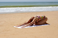 Beach yoga 9 Stock Photos