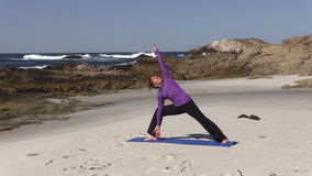 Beach Yoga in California stock footage