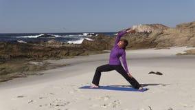 Beach Yoga Practice stock footage