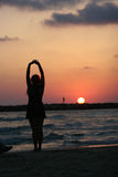 Beach Yoga Tel Aviv Israel. Yoga on the beach at sunset stock image