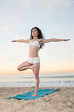 Beach Yoga Woman Stock Photos