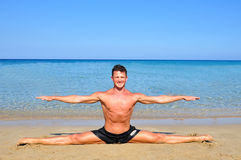 Beach yoga Stock Photo