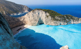 The beach in Zakinf, Navagio Beach Stock Photography