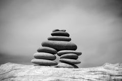 Beach Zen Stone Pile Royalty Free Stock Photos