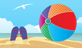 Beachball και flipflops στην παραλία Στοκ εικόνα με δικαίωμα ελεύθερης χρήσης
