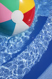 Beachball in a beautiful blue swimming pool Royalty Free Stock Photography