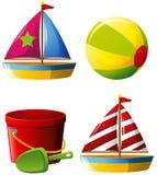 Beachball et d'autres jouets de plage illustration de vecteur