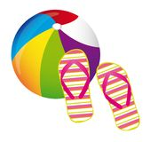 Beachball and flip flops Stock Photo
