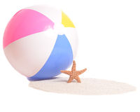 Beachball and Starfish Stock Photography