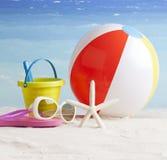 Beachball and starfish, summer vacation background Stock Photo
