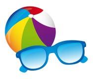 Beachball, vecteur de lunettes de soleil Illustration Stock