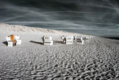 Beachchairs. Infrared. Stock Photo