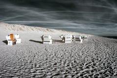 Beachchairs. Infrared. Stock Photo