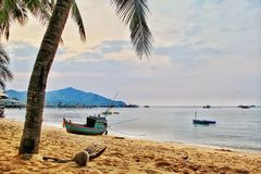 Beachcoconut fishing boat sky view royalty free stock images