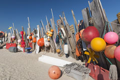 Beachcomber finds near the sea cottage on Vlieland Royalty Free Stock Images