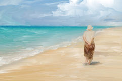 Beachcombing. Digital painting of a woman wandering along a tropical beach Stock Photography