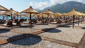 The beache with  umbrellas in Bar Montenegro Royalty Free Stock Images