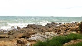 Beache y las ondas están desplazando a la orilla almacen de video