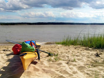 Beached. Kayak beached at Lions Camp Merrick on the Potomac River, MD Royalty Free Stock Image