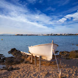 Beached boat in Estany des Peix at Formentera Balearic Island Royalty Free Stock Photography