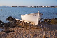 Beached boat in Estany des Peix at Formentera Balearic Island Stock Photography