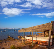 Beached boat in Estany des Peix at Formentera Balearic Stock Images