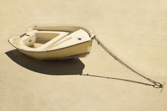 Beached boat. On the ground royalty free stock image