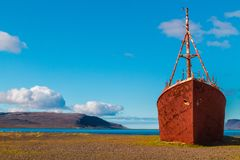 Beached boat in Westfjords of Iceland Royalty Free Stock Photography