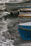 Beached boats. Colorful fishing boats beached on the shore of the island of capri royalty free stock photography
