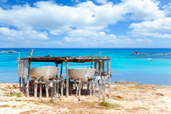 Beached boats in Formentera Els Pujols beach Royalty Free Stock Photos