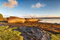 Beached Boats on the Isle of Mull. Old beached boats on the shore at Salen on the Isle of Mull in Scotland royalty free stock images