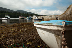 Beached boats at low tide. Low tide at Kenmare harbour Stock Photography