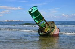 Beached buoy. From a Nor`easter storm. Results of bad weather and rising tides stock images