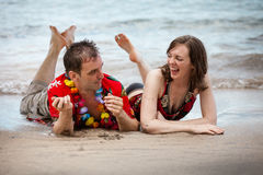 Beached Couple in Paradise Royalty Free Stock Photo