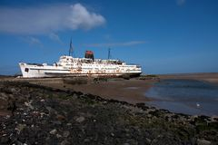The beached Duke of Lancaster. Ship of the North Wales Coast near Flint Royalty Free Stock Photo