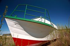 Beached fishing boat near Riverton Manitoba Stock Images
