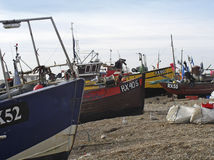 Beached fishing boats Stock Photos