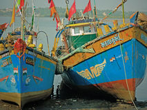 Beached Indian fishing vessels Stock Photo