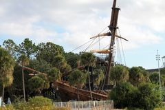 Beached pirate ship at Disney resort Stock Images
