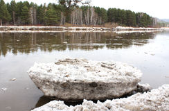 Beached river after an ice drift floe Kahn Royalty Free Stock Photos