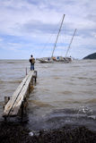 Beached sail boat Stock Photos