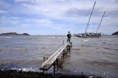 Beached sail boat Royalty Free Stock Photos